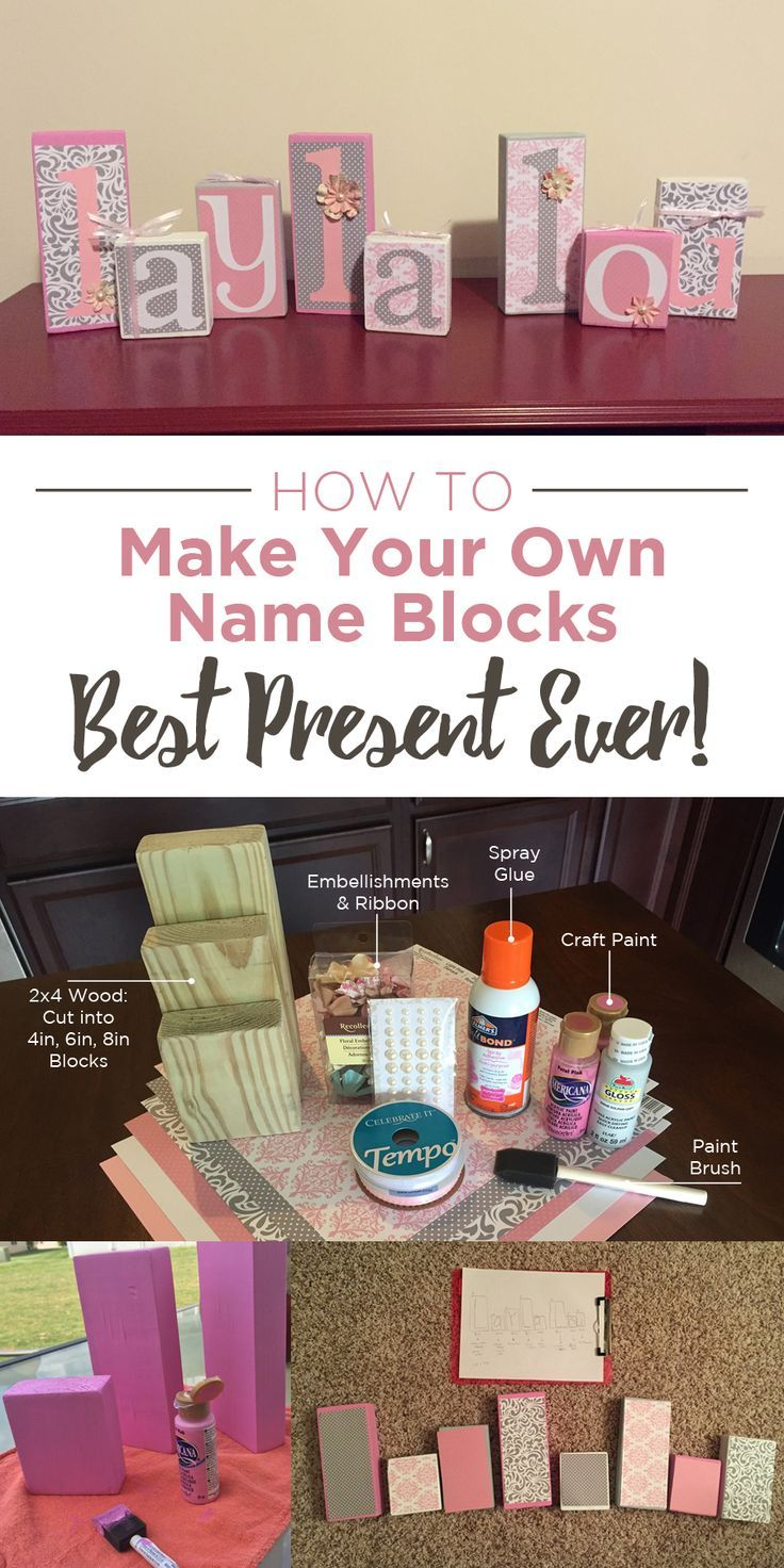 Perfect Gift for any expecting mother! Step by step instructions on how to make this amazing block set. Great for newborns nursery, young child bedroom, or even for a family name. Spell out whatever words you'd like and decorate to match any rooms decor. Pin now, make later!