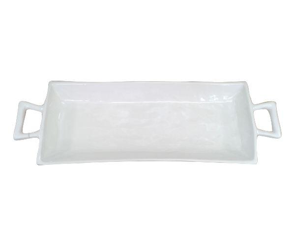 Rectangular Ceramic Karoo Platter with handles. #ceramic #white #platter #serving #dinner