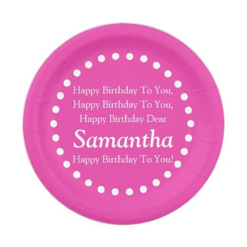 Diva Pink and White Happy Birthday Song Name Paper Plate  sc 1 st  Pinterest & Diva Pink and White Happy Birthday Song Name Paper Plate | Party ...