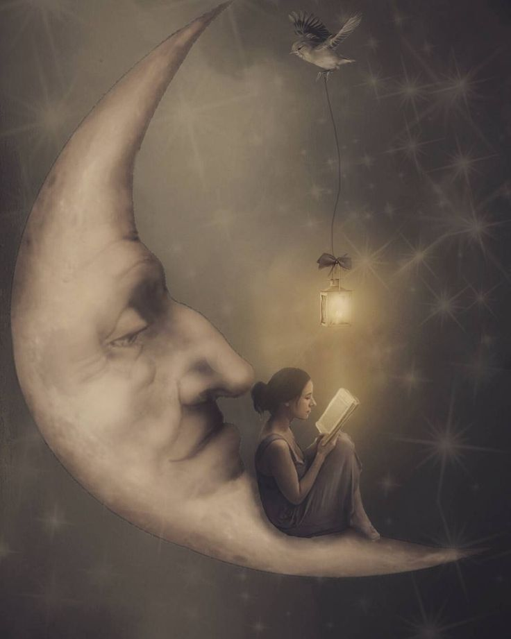 Reading a book on the moon. Surrealism Photography with a Gothic Influence. By Erika Marie.