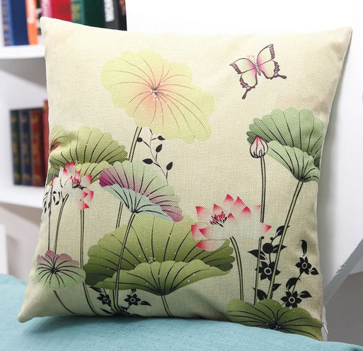 details about throw pillow case cotton linen sofa cushion cover home decor lotus flower 45cm - Home Decor Cushions