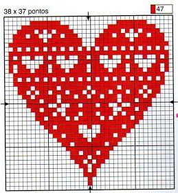 Lindo esquema en punto de cruz, corazón rojo pasión para tus labores mas amorosas o románticas. Yo te entiendo, un día nos levantamos...