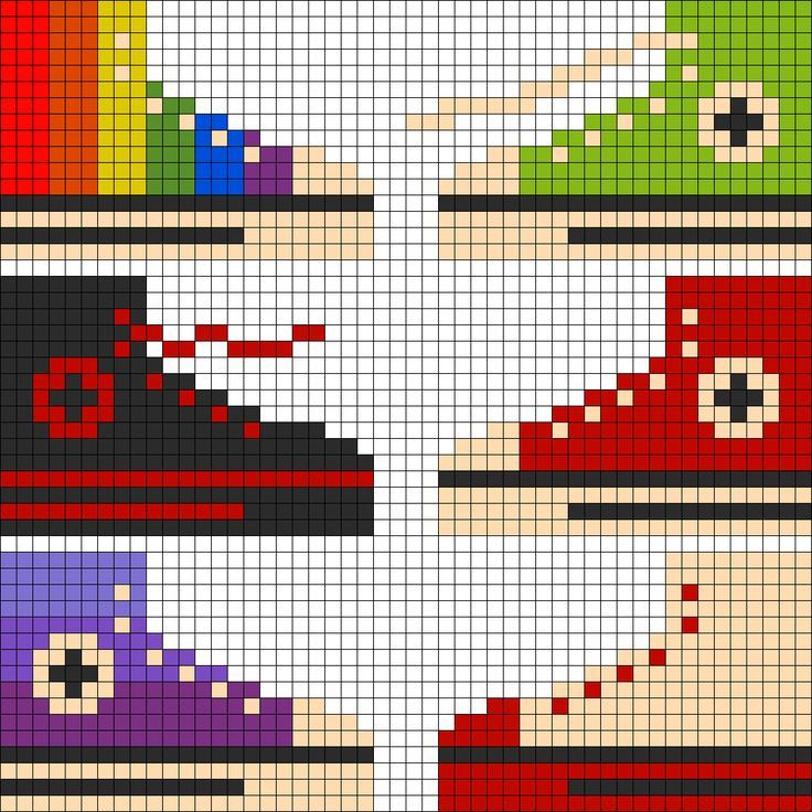 zapatilla con hama beads, hama mini, perler, etc