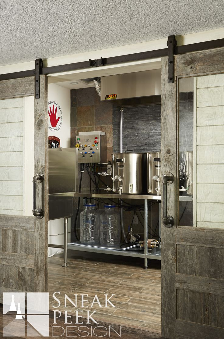 Home Brewery Design - Basement #homebrewery #barndoors #beer #bar…