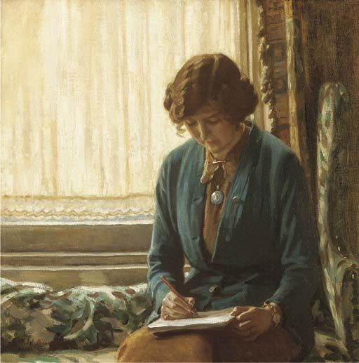Portrait of Dame Laura Knight sketching. Harold Knight, R.A. (English, 1874-1961). Oil on canvas. Laura Knight's technical skills, which were considerable, she learned at art school in Nottingham, and from her husband Harold Knight (they married in 1903); but her great charm as a painter, her flamboyance and use of colour, were all her own.