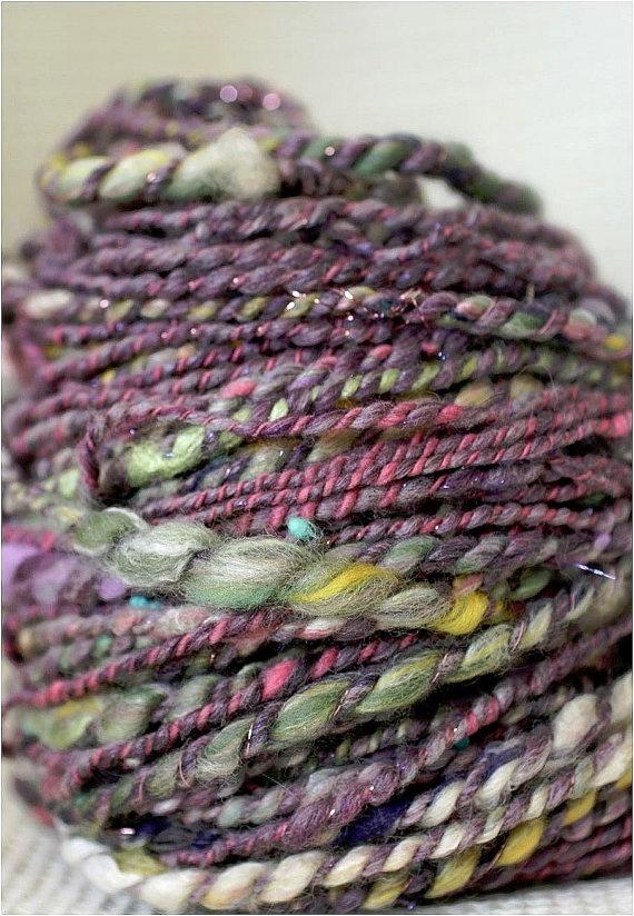 PURPLE Handspun two ply novelty yarn 84 yards