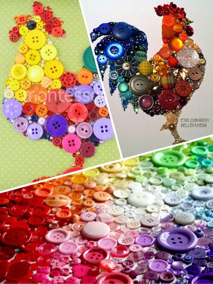Петушки из пуговиц - замечательная идея для создания поделки с малышами  #петух #новыйгод2017 #новыйгод #игрушкапетух #пуговицы #kosovtsova