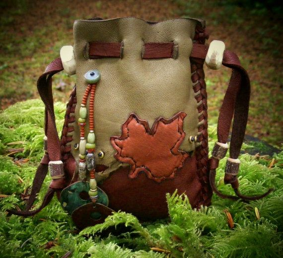 ALONE in THE WOODS deerskin leather Medicine bag Spirit pouch, Shaman bag