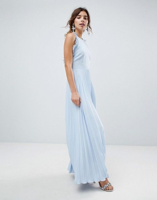 03acc6f2d70 Pleated Maxi Dress With Ruffle Open Back
