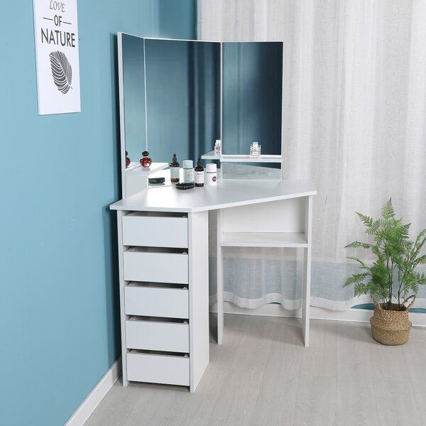 Cormier Corner Makeup Vanity With Mirror With Images Corner Makeup Vanity Make Up Desk Vanity Corner Vanity