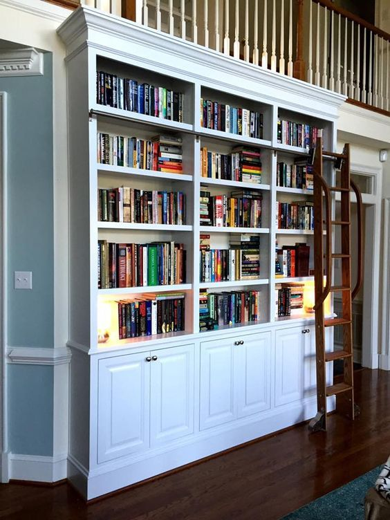 Beautiful bookshelves and sliding ladders in these 15 small home libraries.
