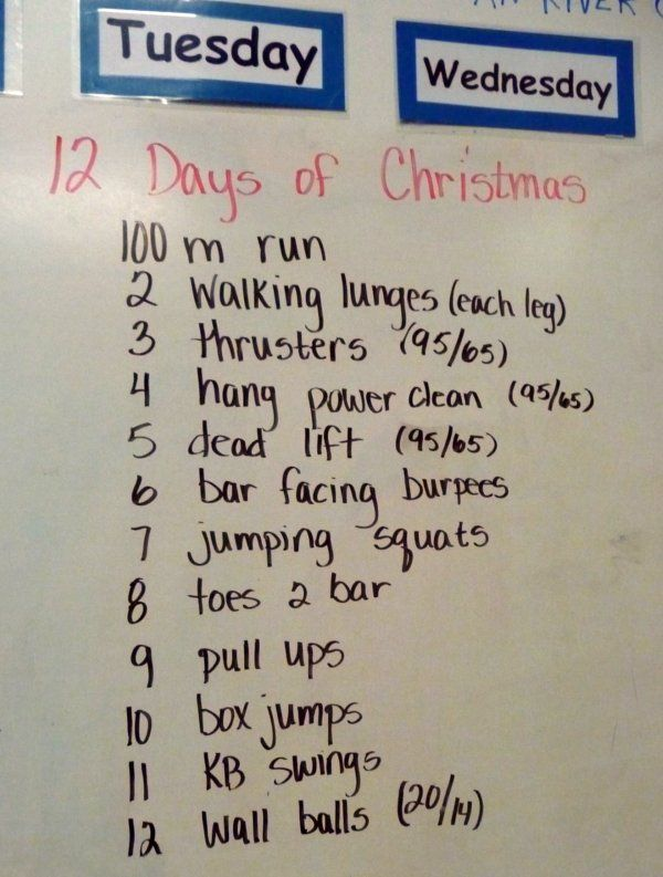 12 days of Christmas workout idea