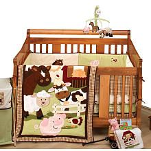 NoJo Farm Babies 5 Piece Crib Bedding Set - not my favorite colors, but I love the animals