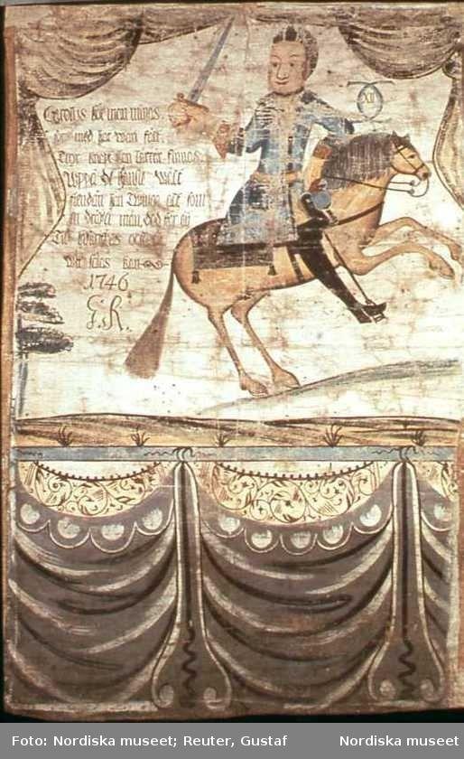 Digitalt Museum - Tavla från 1746 av Gustaf Reuter (1699-1783). Karl XII till häst.