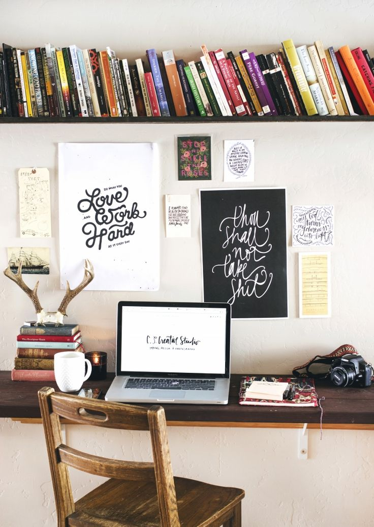 Turn a small corner of the lounge or a bedroom into an office with a couple of shelves and a pinboard .