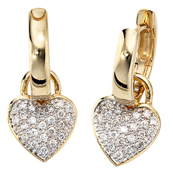 NEU Diamanten Creolen Ohrringe Herz Anhänger 14 Karat Gelbgold 585er 585 0,25 ct