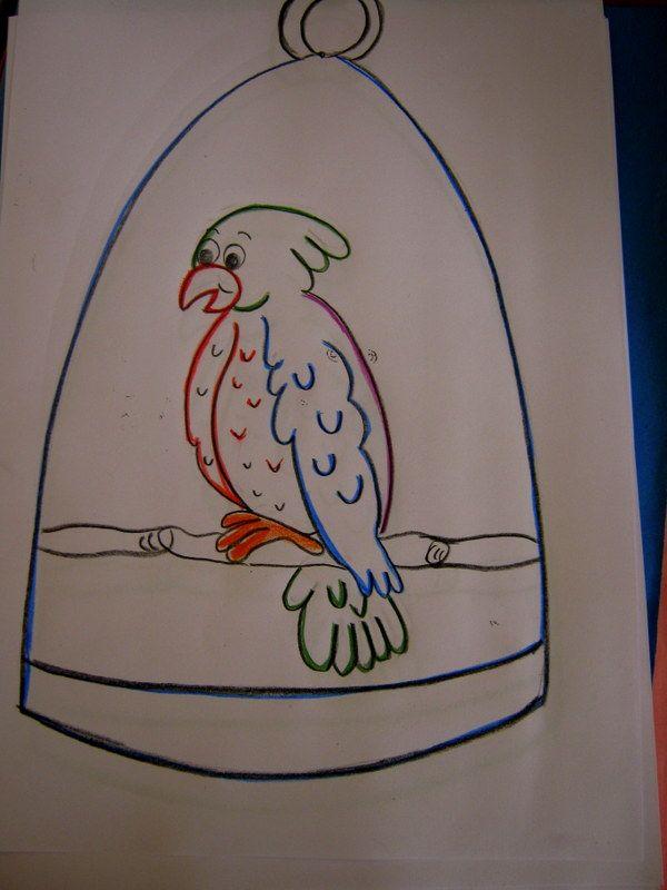 Turuncu çakiltaşi Kafeste Papağan Kafes Okul öncesi