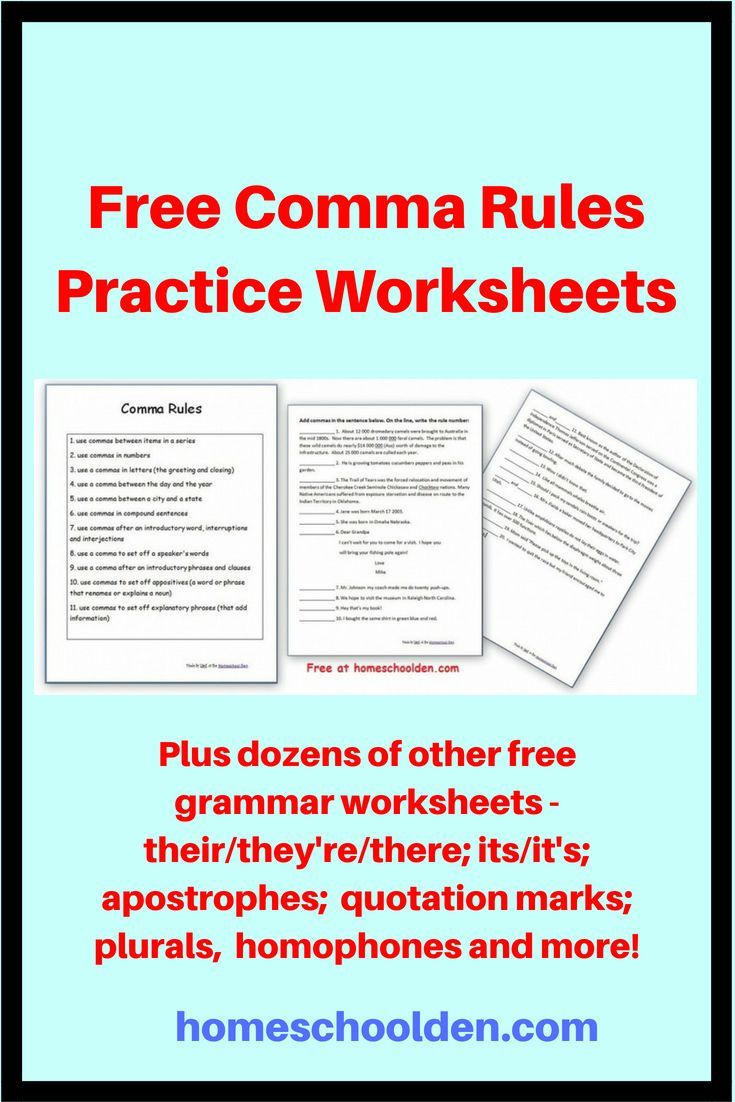 Free Comma Rules Practice Worksheets At this post you will find ...