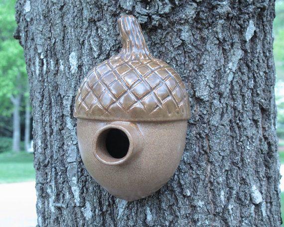 Acorn Ceramic Bird House by tlgpottery