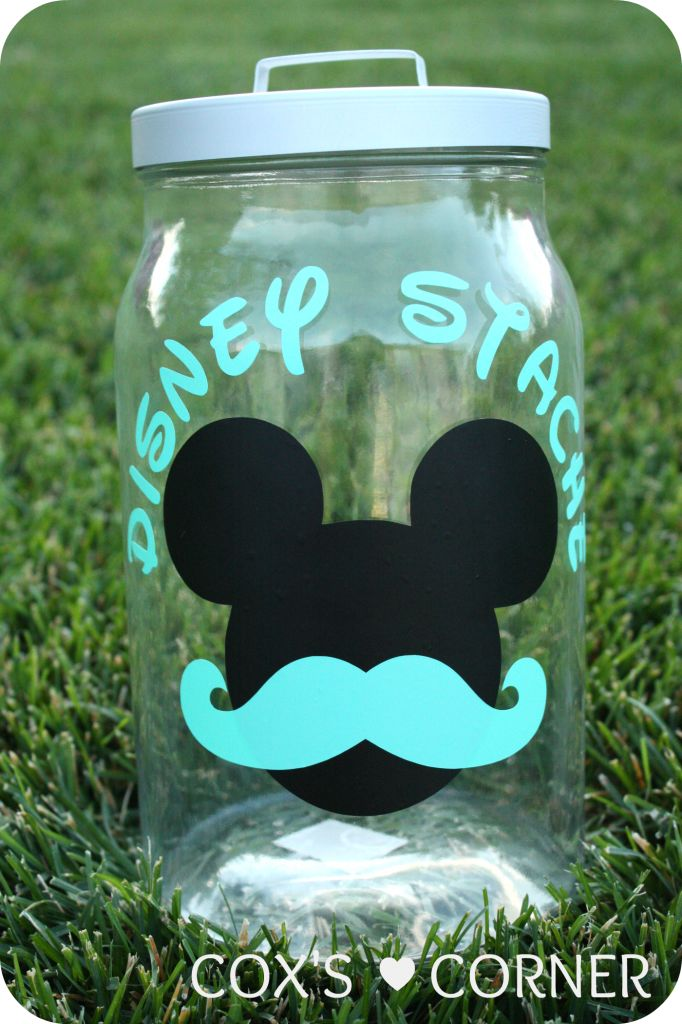 """This is so cute! Create a Disney """"stache"""" jar to save up for you trip.: Idea, Stache Jar, Disney Crafts, Disney Trips, Disney Stache, Disney Cruise, Disney Vacation, Jars, Kid"""