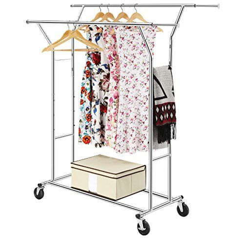 LANGRIA Collapsible Double Rail Rolling Garment Rack Clothing Rack Drying Rack Hanging Rack, Easy Install, Chrome Finish, hold up to 250 lbs. (113kg)
