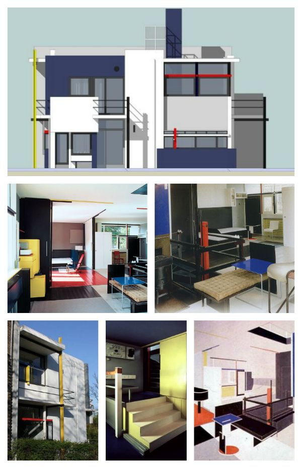 Gerrit Rietveld's Schroder House.  Many argue that it is the only building fully realized in the De Stijl movement. Built in 1924.