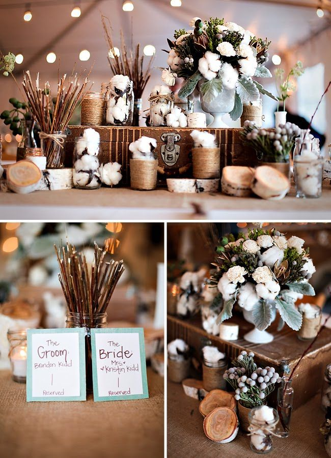 Rustic Wedding Centerpieces With Natural Tones And A Variety Of Raw Cotton Bolls Cotton Twigs