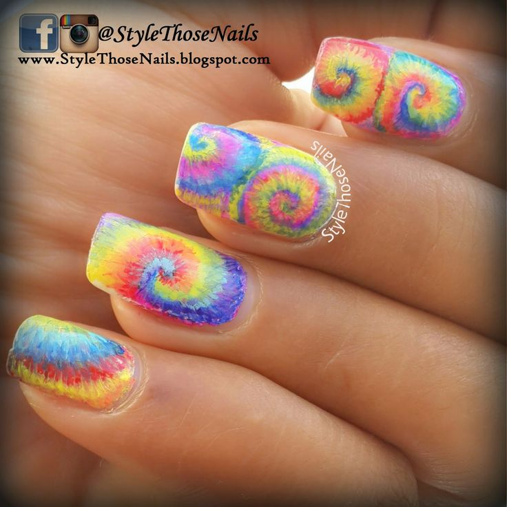 Colorful Tie and Dye Nails