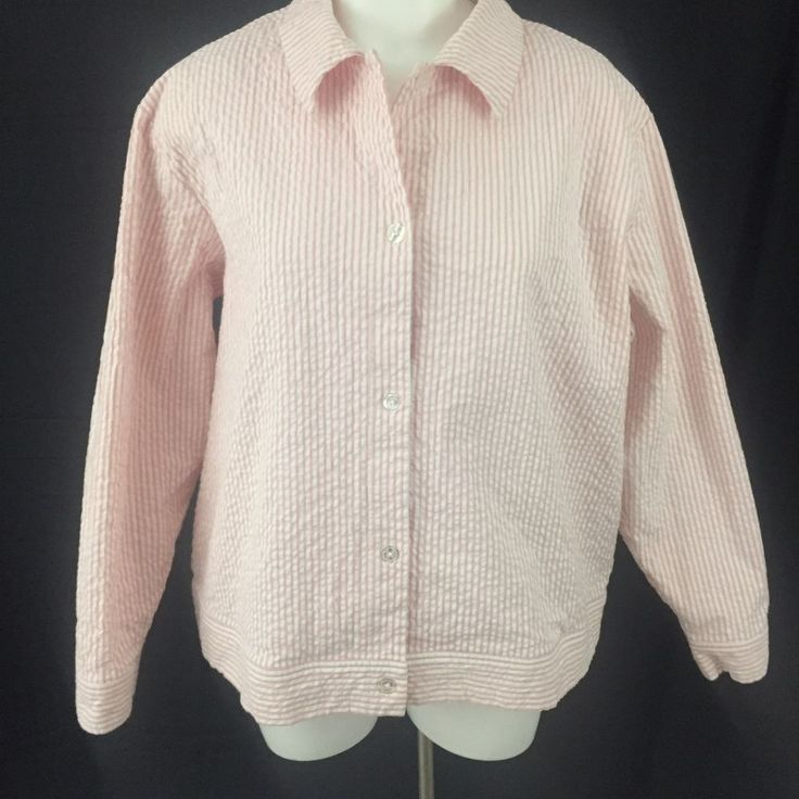 Denim And Co. Pink and White Seersucker Striped Lined Jacket Plus Size 1X 18/20