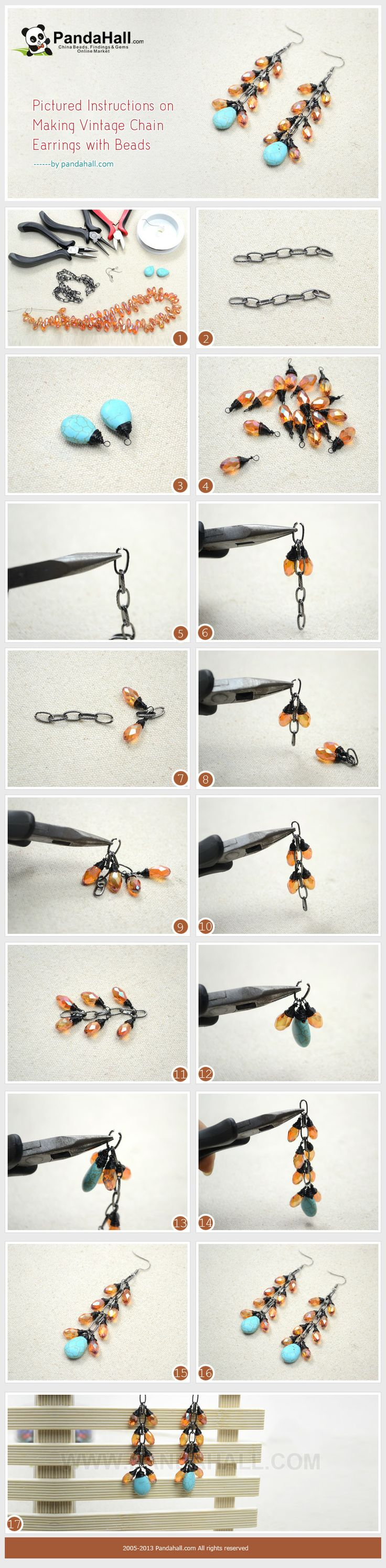 Pictured Instructions on Making Vintage Chain Earrings with Beads