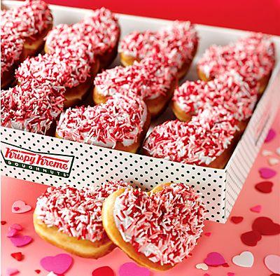 Heart-shaped doughnuts from Krispy Kreme.) Yummy <3