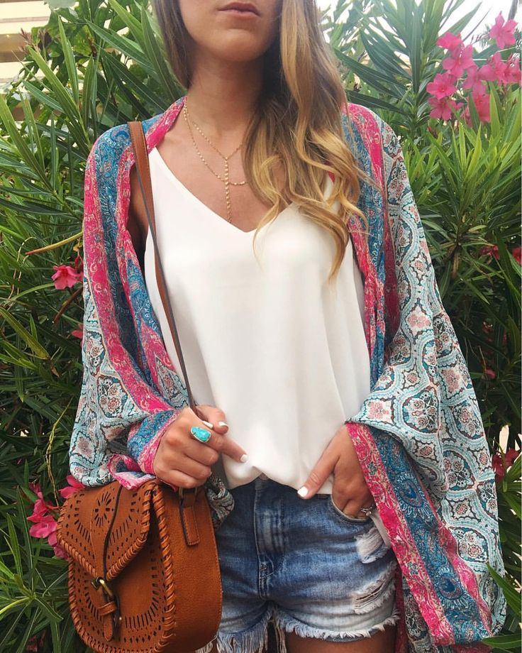 Colourful kimono/scarf, white tee, jean shorts and brown leather bag