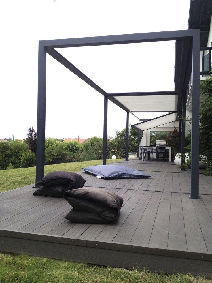 Pergola autoportante / en aluminium / couverture coulissante en toile PVC - ID2 DESIGN - IDÉEÀ TERRASSE - Abritez-vous chez nous - Vidéos