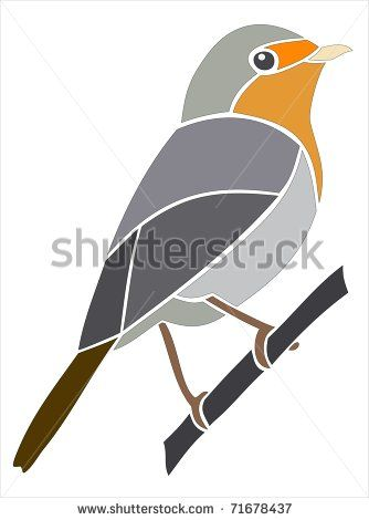 stock photo : European Robin.  Picture and stencil of a bird.