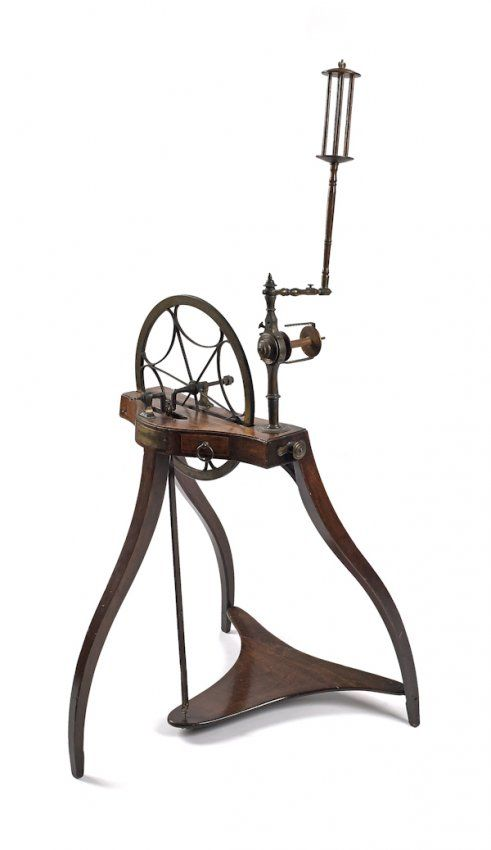 Samuel Thorp spinning wheel. Scottish mahogany and brass spinning wheel, late 18th c., with a plaque inscribed S Thorp, Abberley Inv., 47 1/2'' h.  More photos: http://www.ravelry.com/discuss/antique-spinning-wheels/2574964/1-25