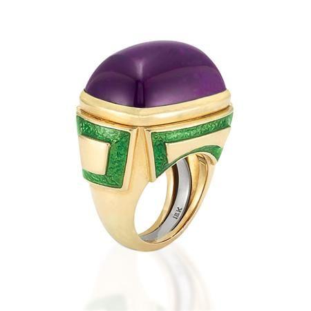 Gold, Cabochon Amethyst and Green Enamel Ring by David Webb