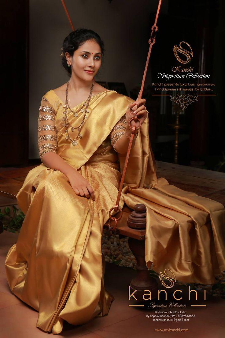 Golden kanchipuram saree for brides.. Kanchi signature collection saree .. https://www.facebook.com/Kanchi-Signature-Collection-353807514697160/timeline/