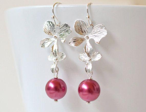 Pink pearl Dangle Earrings Pink Drop by ArtemisBridalJewelry