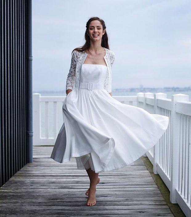 Robe de mariée mi-longue - Marie Laporte, modèle Jeanne, prix sur demande