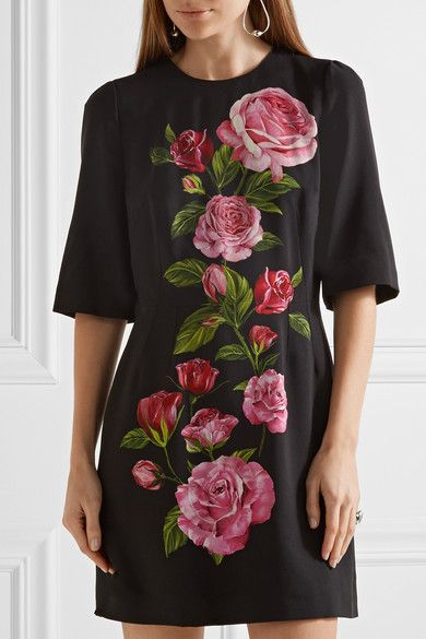 Dolce & Gabbana - Floral-print Crepe Mini Dress - Black - IT36