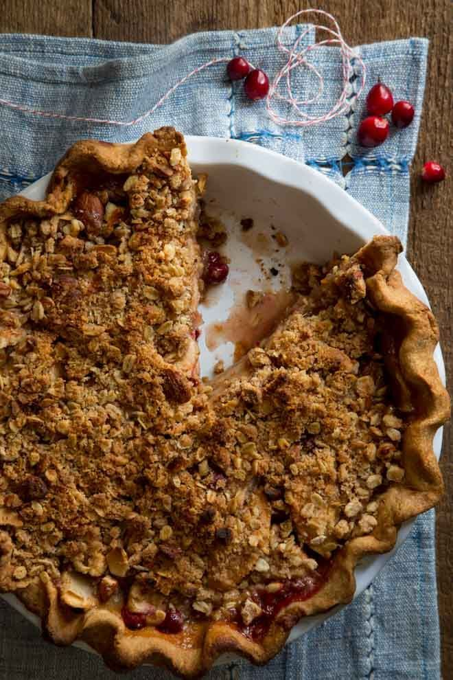 Cranberry Maple Apple Crumb Pie recipe made from scratch  for Thanksgiving