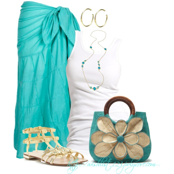 """Maxi Sarong with accent of """"Gold Gladiator Sandals"""" & Awesome Casual Handbag"""
