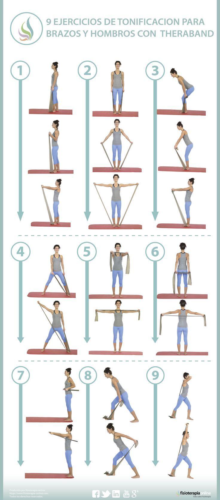 El entrenamiento con bandas elásticas para tonificar tus músculos, deltoides, romboides, tríceps y pectorales.