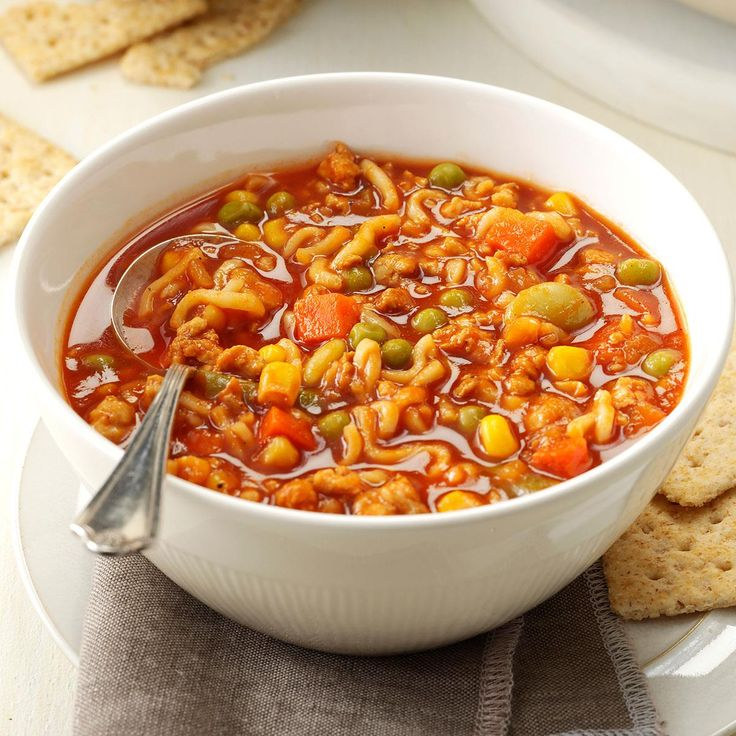 Turkey & Noodle Tomato Soup Recipe -Turn V8 juice, veggies and ramen noodles into a wonderful soup that takes just a few minutes to make. I like to serve it with biscuits. —Jennifer Bridges, Los Angeles, California