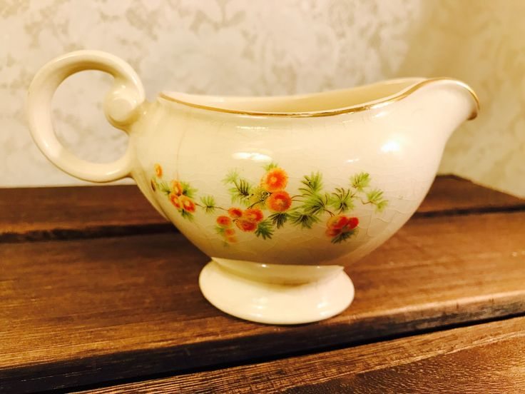 Creamer Taylor Smith Taylor TST - Orange Flowers Cream Background - Gold Trim - Vintage - 1940's by StaceysHutch on Etsy