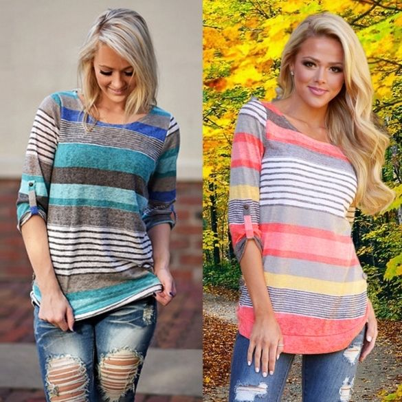 Material: Cotton Blend 2 Colors: Red, Blue Collar: O-Neck Sleeve: Long Sleeve Style: Casual Pattern: Striped Occasion: Casual Garment Care: Hand-wash and Machine washable, Dry Clean Unique style, create a illusion for stunning curves, make you more beautiful, fashion, sexy and elegant. Asian Size US Size EU Size UK Size AU Size Shoulder Sleeve Chest Back Length S XS(4) 34 6 8 34 cm 13.3 inch 47 cm 18.3 inch 82 cm 32 inch 55 cm 21.5 inch M S(6) 36 8 10 35 cm 13.7 inch 47 cm 18.3 inch 85 cm…