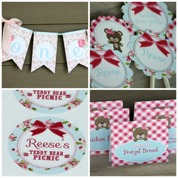 Teddy Bear Birthday Party Package Assembled por HandmadePartyCo