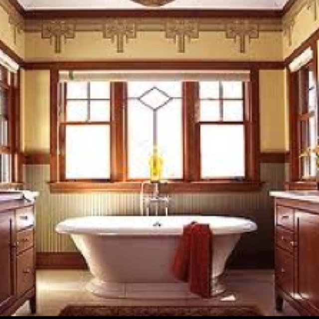 Craftsman bathroom interesting wallpaper