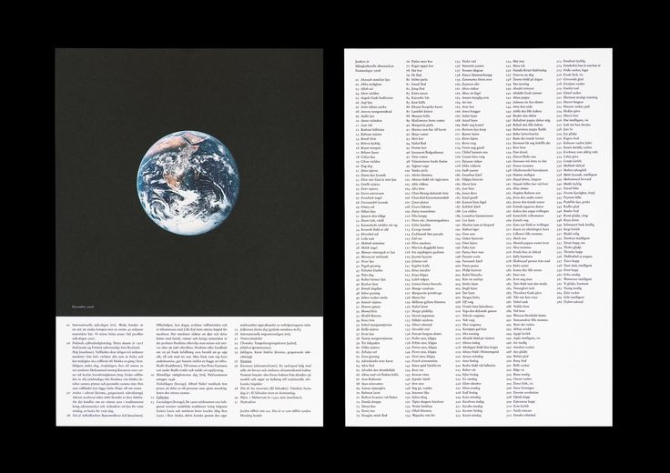 2008 Calendar: Year of the Earth for the Multicultural Centre, in collaboration with Swedish Commerce and others.    Text: Ingrid Ramberg. Photographs: Nasa (Earth photographed by Apollo 17, December 11th, 1972).  14 loose sheets in binder, 240x340 mm, offset. Print run: 10,000 cps., 2007 —Henrik Nygren