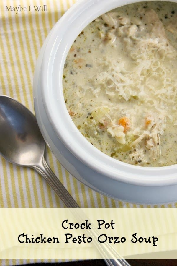 Crock Pot Chicken Pesto Orzo Soup! It's Super Yummy & Healthy! My kid...